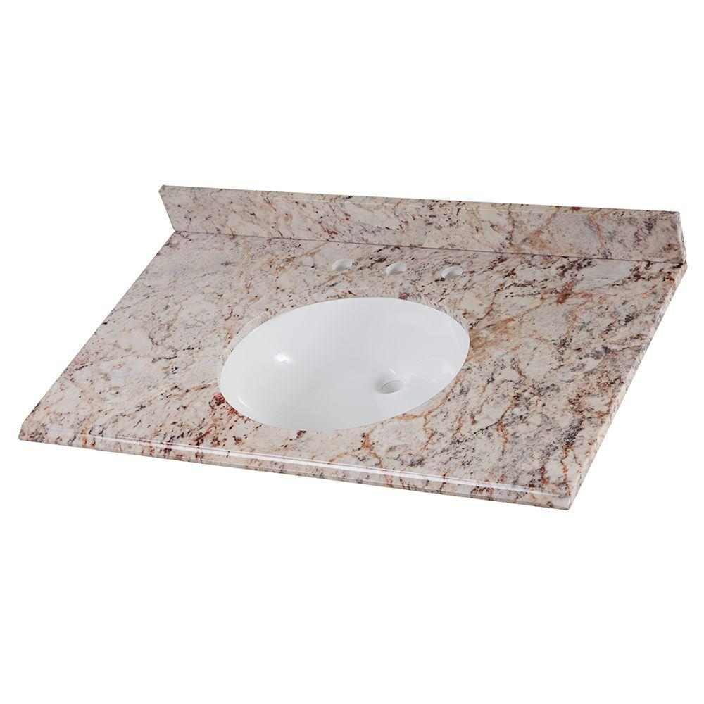 Home Decorators Collection 37 in. Stone Effects Vanity Top in Rustic Gold with White Basin