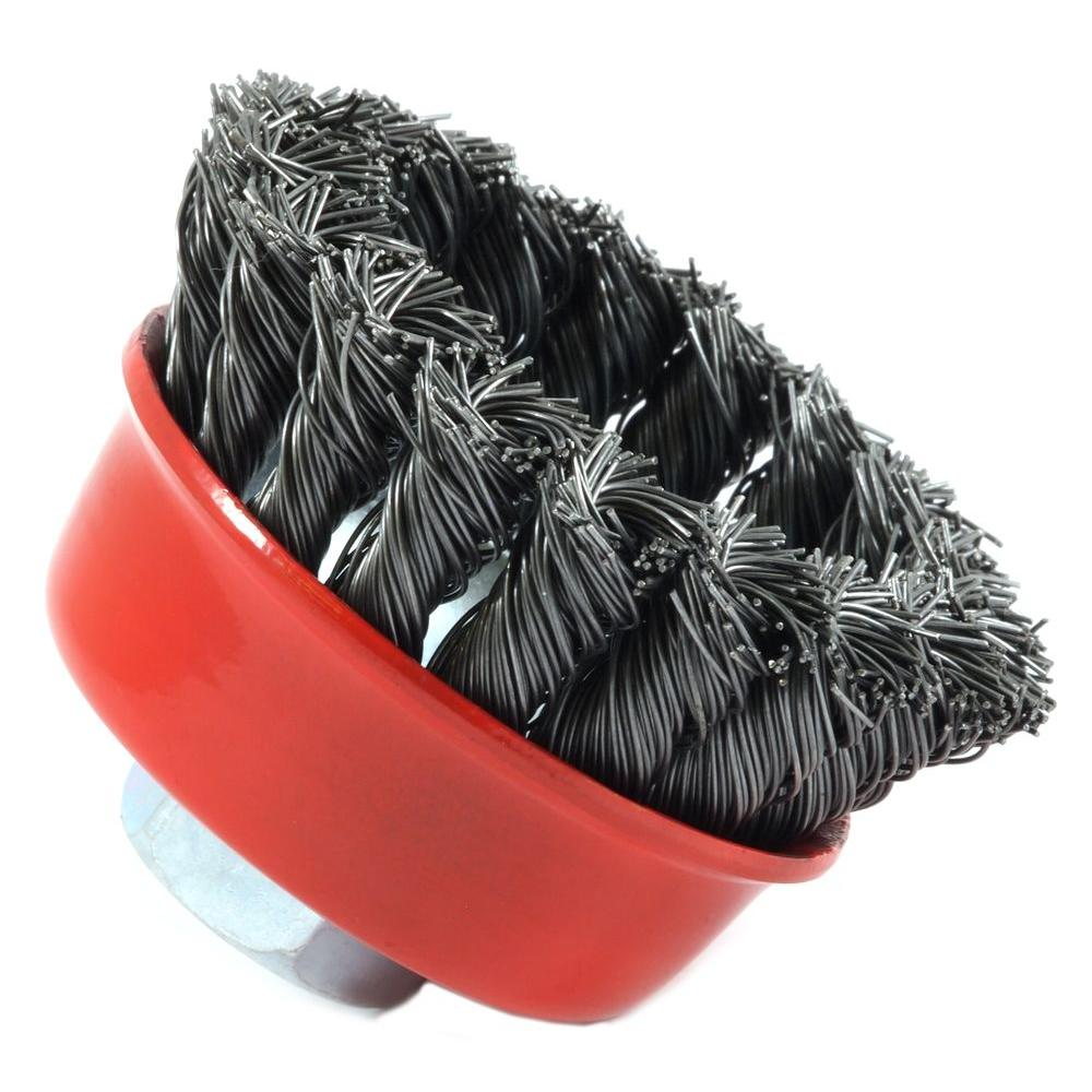 Makita 3 in. Wire Cup Brush for use with angle grinders with an M10 ...