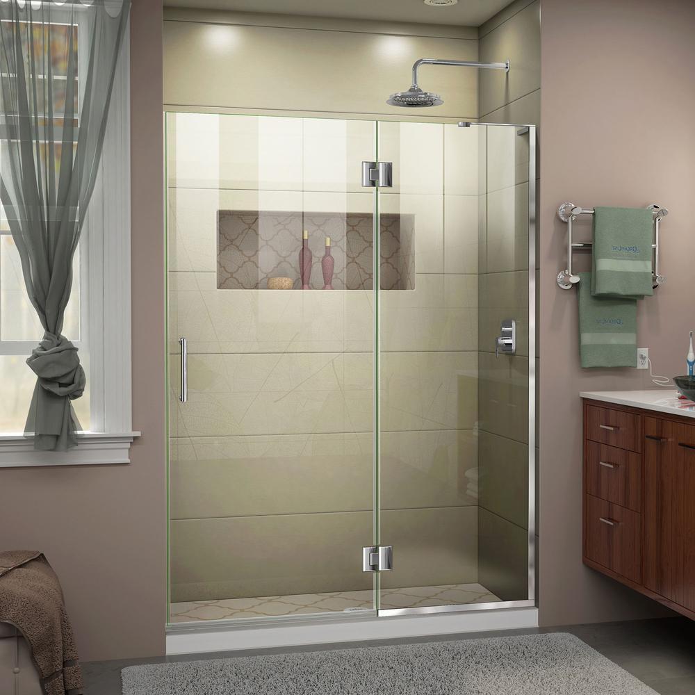 Unidoor-X 54 in. x 72 in. Frameless Hinged Shower Door in Chrome