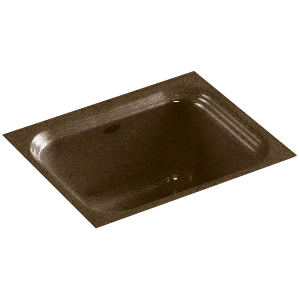 KOHLER Northland Undermount Cast Iron 15 in. Single Bowl Bar Sink in Black 'n Tan