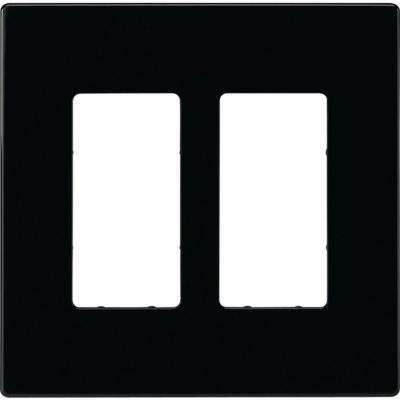 2 Switch Decorator Duplex Nylon Wall Plate, Black