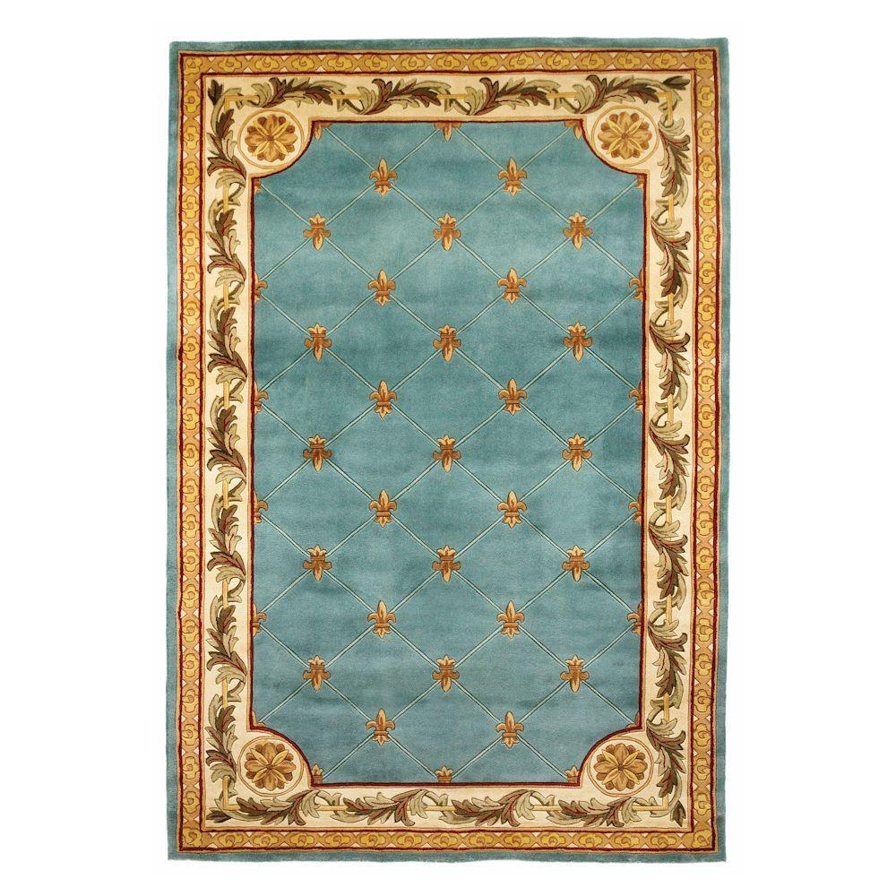 Antique Fleur-De-Lis Wedgewood Blue 2 ft. 6 in. x 4 ft.
