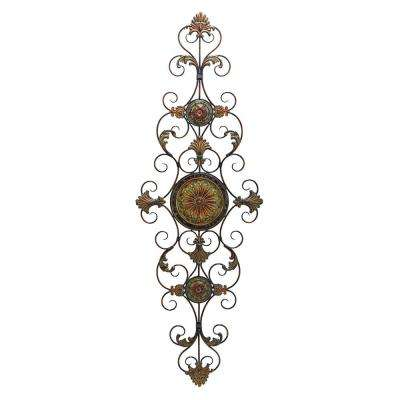 Vintage Style Brown and Black Metal Scrollwork Wall Decor