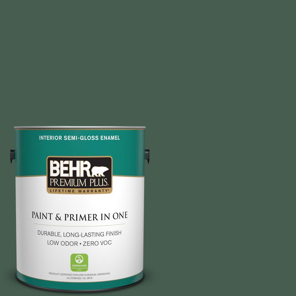 BEHR Premium Plus 1-gal. #450F-7 Hampton Green Zero VOC Semi-Gloss Enamel Interior Paint