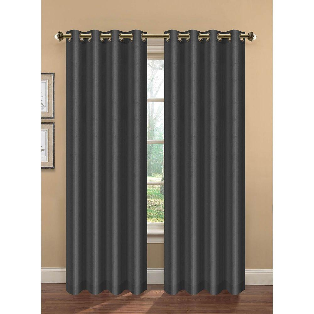 Bella Luna Semi-Opaque Camilla Faux Silk 84 in. L Extra Wide Room Darkening Grommet Curtain Panel Pair, Charcoal (Set of 2)