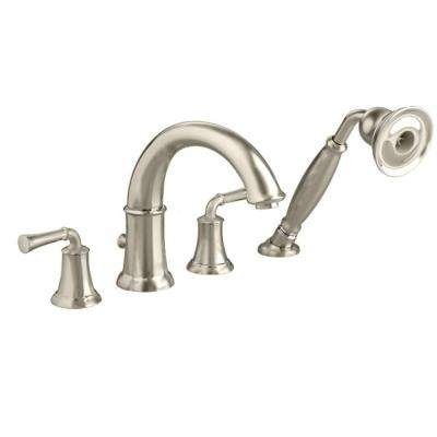 Portsmouth Lever 2-Handle Deck-Mount Roman Tub Faucet with Handshower in Brushed Nickel