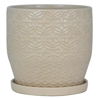 10 in. Dia Ivory Rivage Ceramic Planter