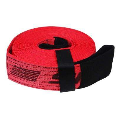 4 in. x 30 ft. x 40,000 lb. Tow and Lifting Strap with Hook and Loop Storage Fastener in Red