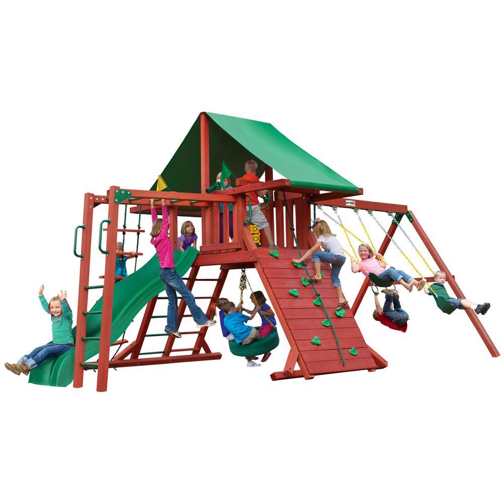 Gorilla Playsets Sun Palace Ii Wooden Swing Set With Monkey Bars 01