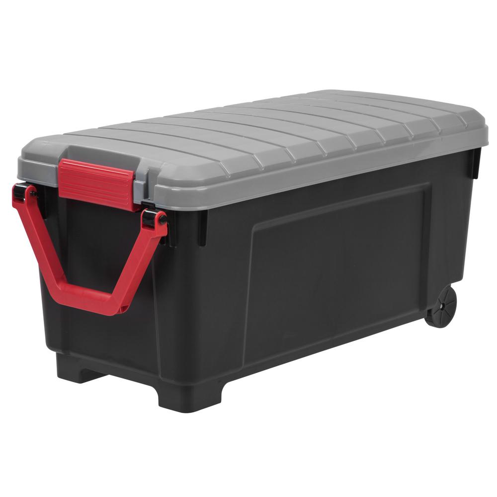 IRIS 169 Qt. Store-It-All Tote Storage Bin in Black