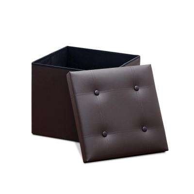 Modern Espresso Foldable Storage Square Bench
