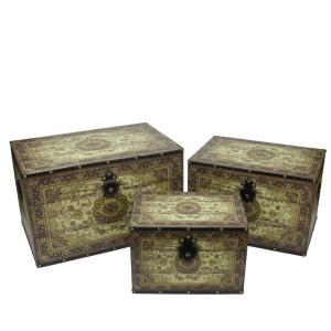 22 In Oriental Style Brown And Cream Earth Tone Decorative Wooden Storage Boxes Set Of 3