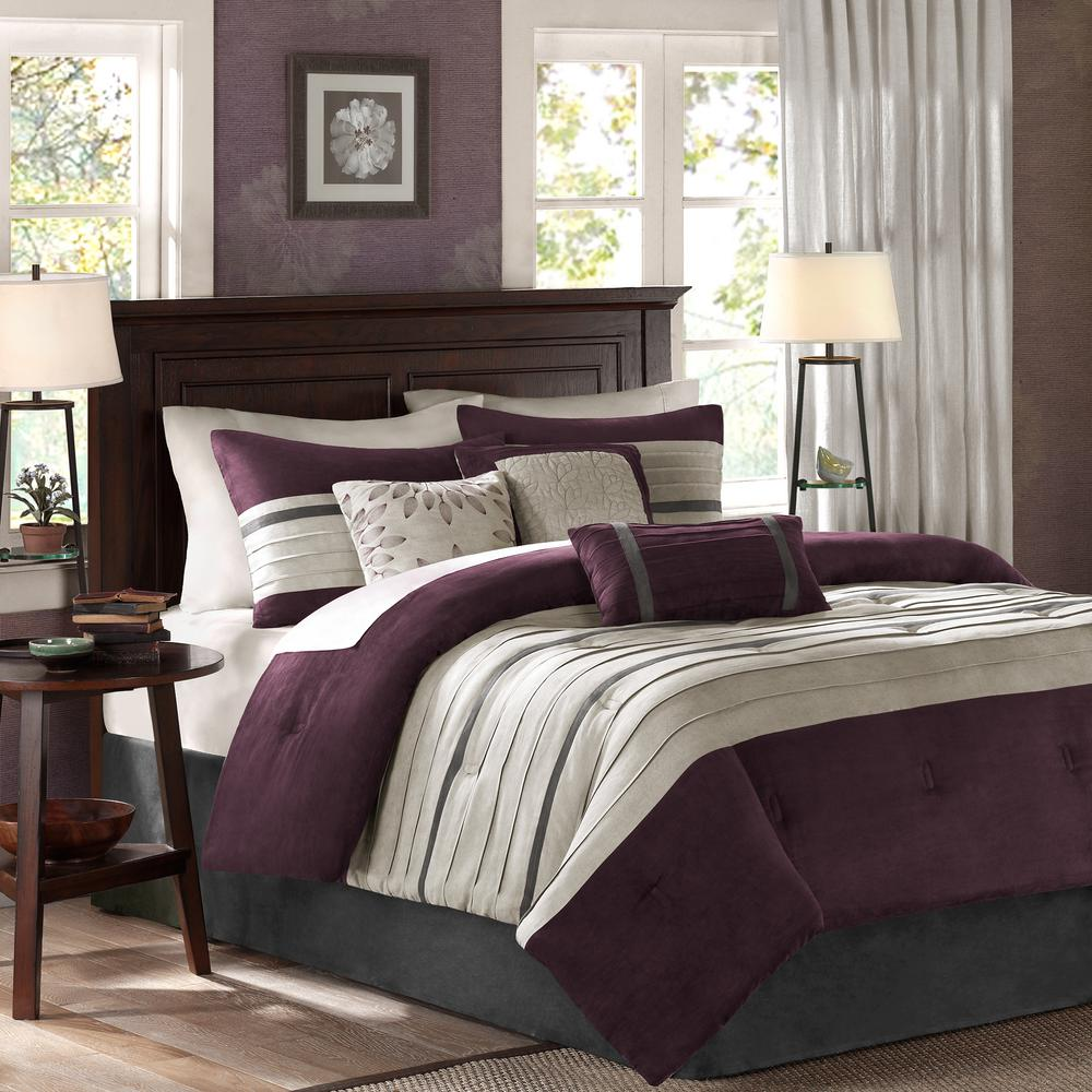 b567aa6502 Madison Park Teagan 7-Piece Plum Queen Pieced Comforter Set-MP10-304 - The  Home Depot