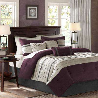 Beau Teagan 7 Piece Plum California King Pieced Comforter Set