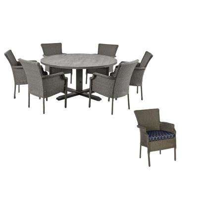 Grayson 7-Piece Ash Gray Wicker Outdoor Patio Dining Set with CushionGuard Midnight Trellis Navy Blue Cushions