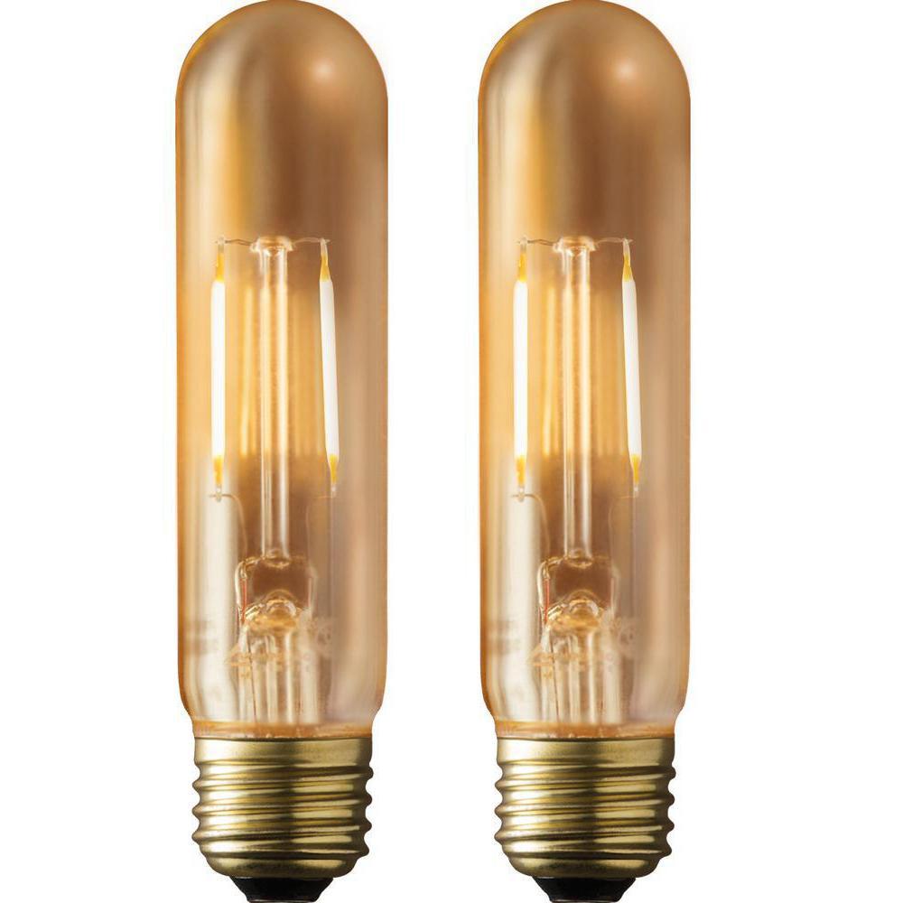 40W Equivalent Warm White T9 Amber Lens Vintage Tubular Dimmable LED Light Bulb (2-Pack)