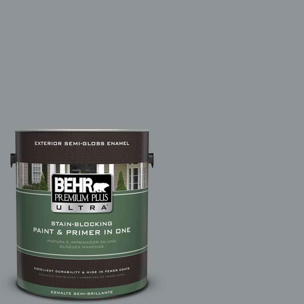 BEHR Premium Plus Ultra 1-gal. #770F-4 Gray Area Semi-Gloss Enamel Exterior Paint
