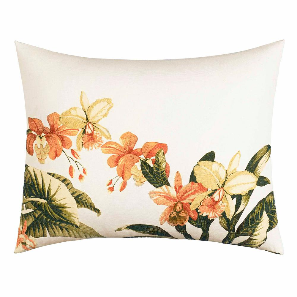 Siesta Key Coral 16 in. x 20 in. Throw Pillow, Orange Create an island oasis no matter where you call home with this all cotton, Tommy Bahama Siesta Key throw pillow. This pillow showcases a beautiful floral embroidery. Pair this pillow with the Tommy Bahama Siesta Key Ensemble (sold separately). Cotton cover features a polyester fill and overlap closure. Machine washable for easy care. Pillow measures 16 in. L x 20 in. W. Color: Orange.