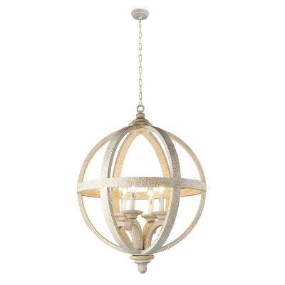 Hercules 4-Light Wooden Globe Frame and Neutral Chandelier