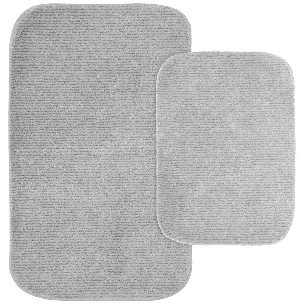 Glamor Platinum Gray 21 in. x 34 in. Washable Bathroom 2-Piece Rug Set
