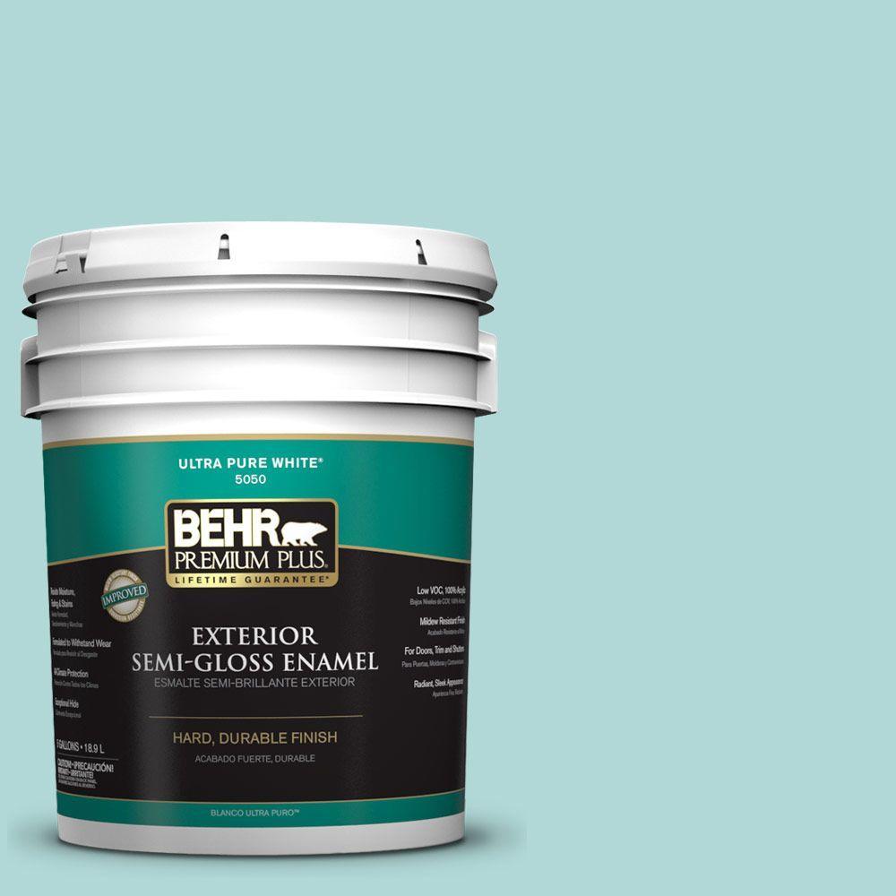 BEHR Premium Plus 5-gal. #T12-19 Sugar Pool Semi-Gloss Enamel Exterior Paint