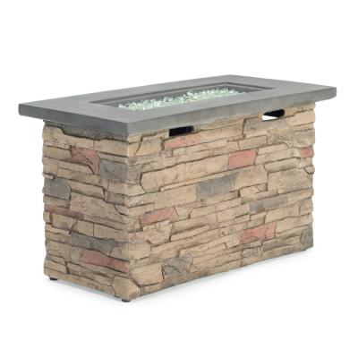 Sage 42 in. x 20 in. Rectangle Stone Propane Fire Pit Table with Storage Cover