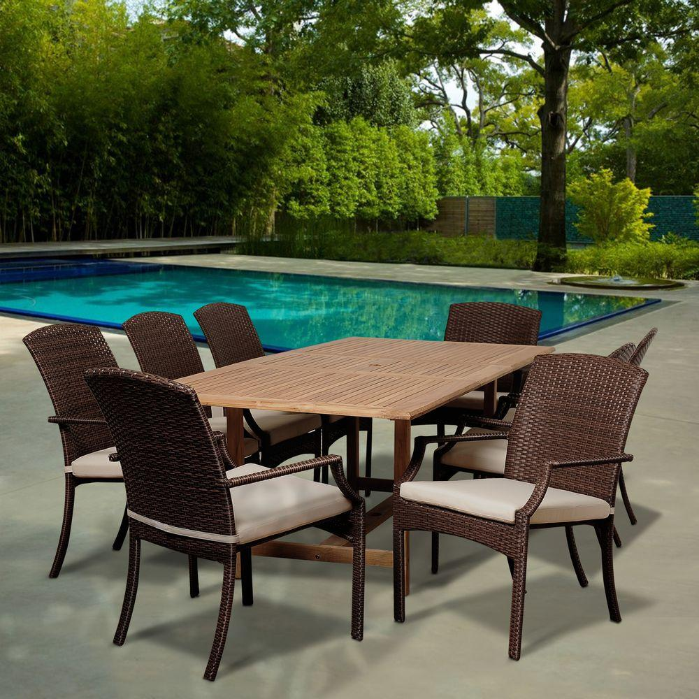 Amazonia Mason 9 Piece Teak Extendable Rectangular Patio Dining Set With  Off White Cushions