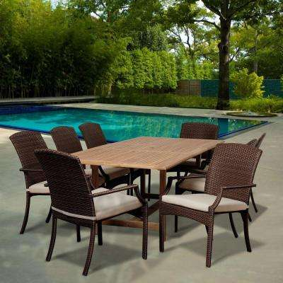 Mason 9-Piece Teak Extendable Rectangular Patio Dining Set with Off-White Cushions