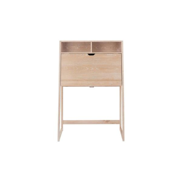 36 in. Rectangular White Wash Secretary Desk with Solid Wood Material