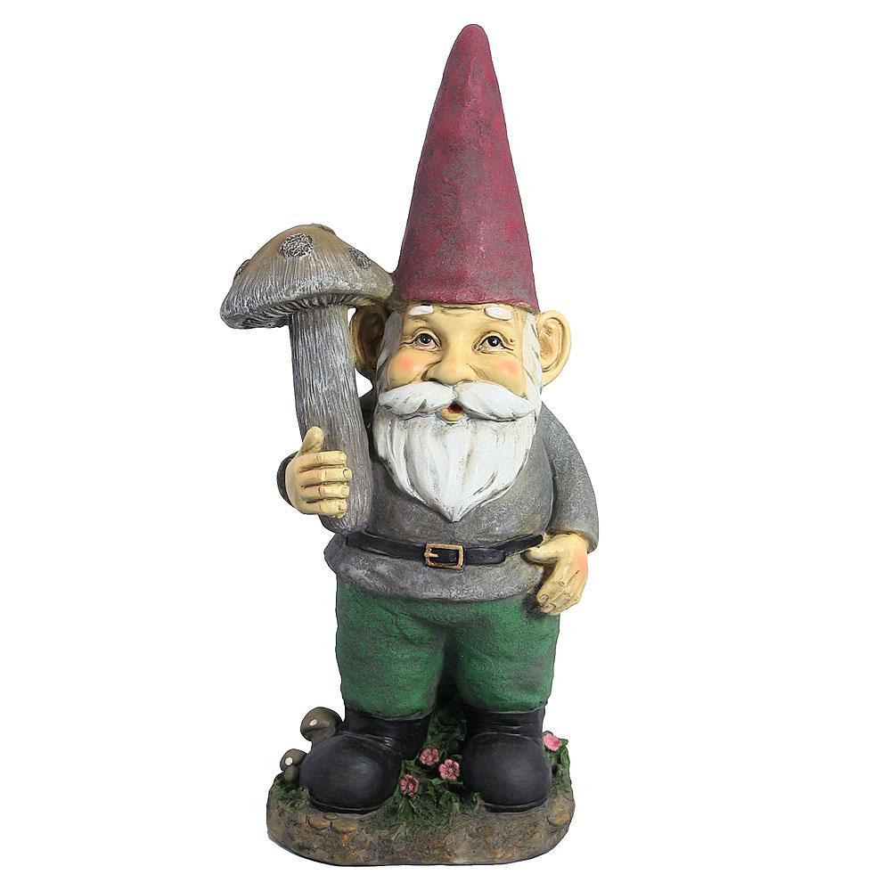 20 in. Marty the Mushroom Gnome Garden Statue