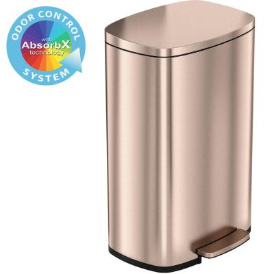 SoftStep 13.2 Gal. Stainless Steel Trash Can in Rose Gold with Odor Control System and Inner Bucket for Office, Kitchen
