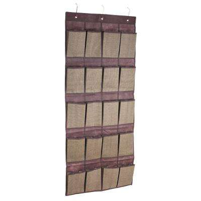 20-Pair Faux Jute Brown Shoe Organizer