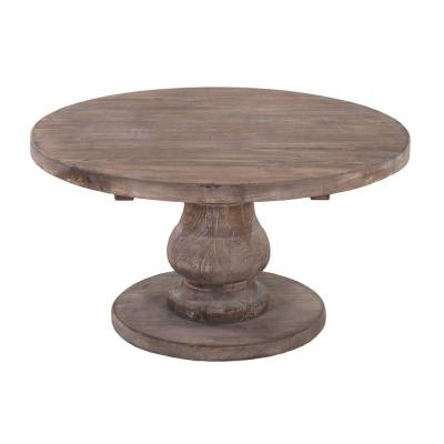 18 in. H Brown Wooden Round Coffee Table with Pedestal Base