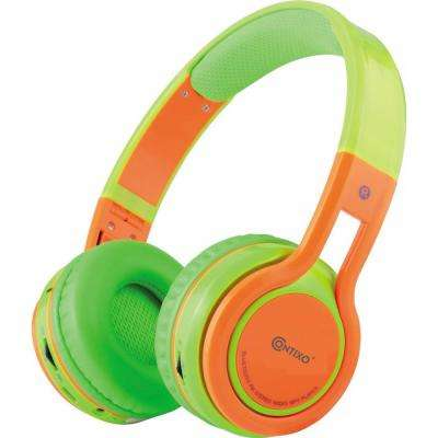 KB2600 Kid Safe 85db Foldable Wireless Bluetooth Headphone Built-in Microphone, Micro SD Music Player (Green w/Orange)