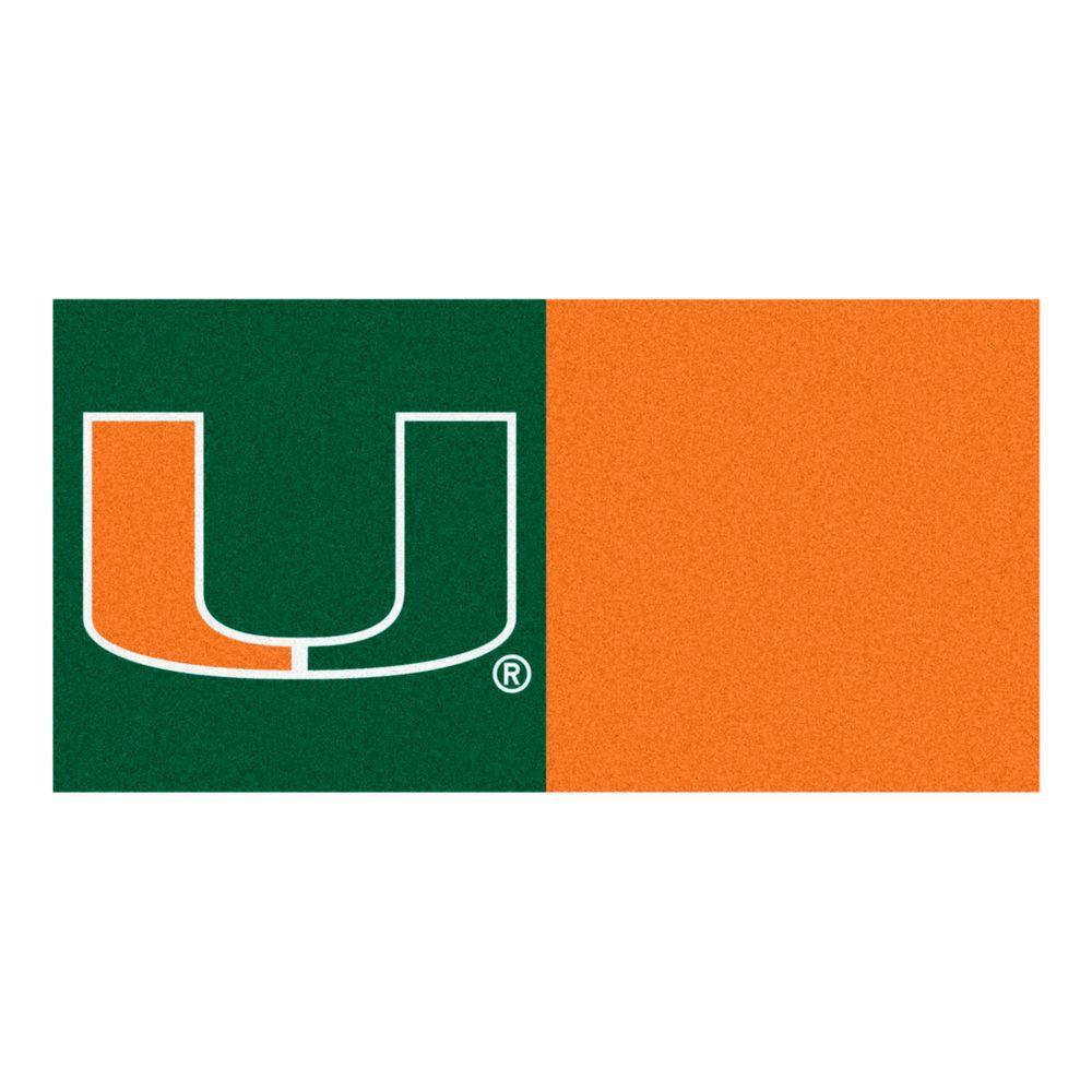 FANMATS NCAA - University of Miami Green and Orange Nylon 18 in. x 18 in. Carpet Tile (20 Tiles/Case)