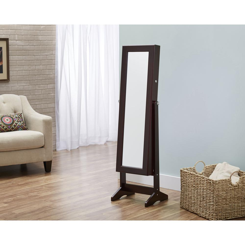 Espresso Cheval Free Standing Jewelry Armoire