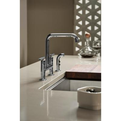 Purist 12 in. 2-Handle Deck-Mount High-Arc Bridge Kitchen Faucet with Side Sprayer in Polished Chrome