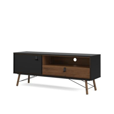 Ry 59 in. Black Matte and Walnut Engineered Wood TV Stand Fits TVs Up to 59 in. with Storage Doors