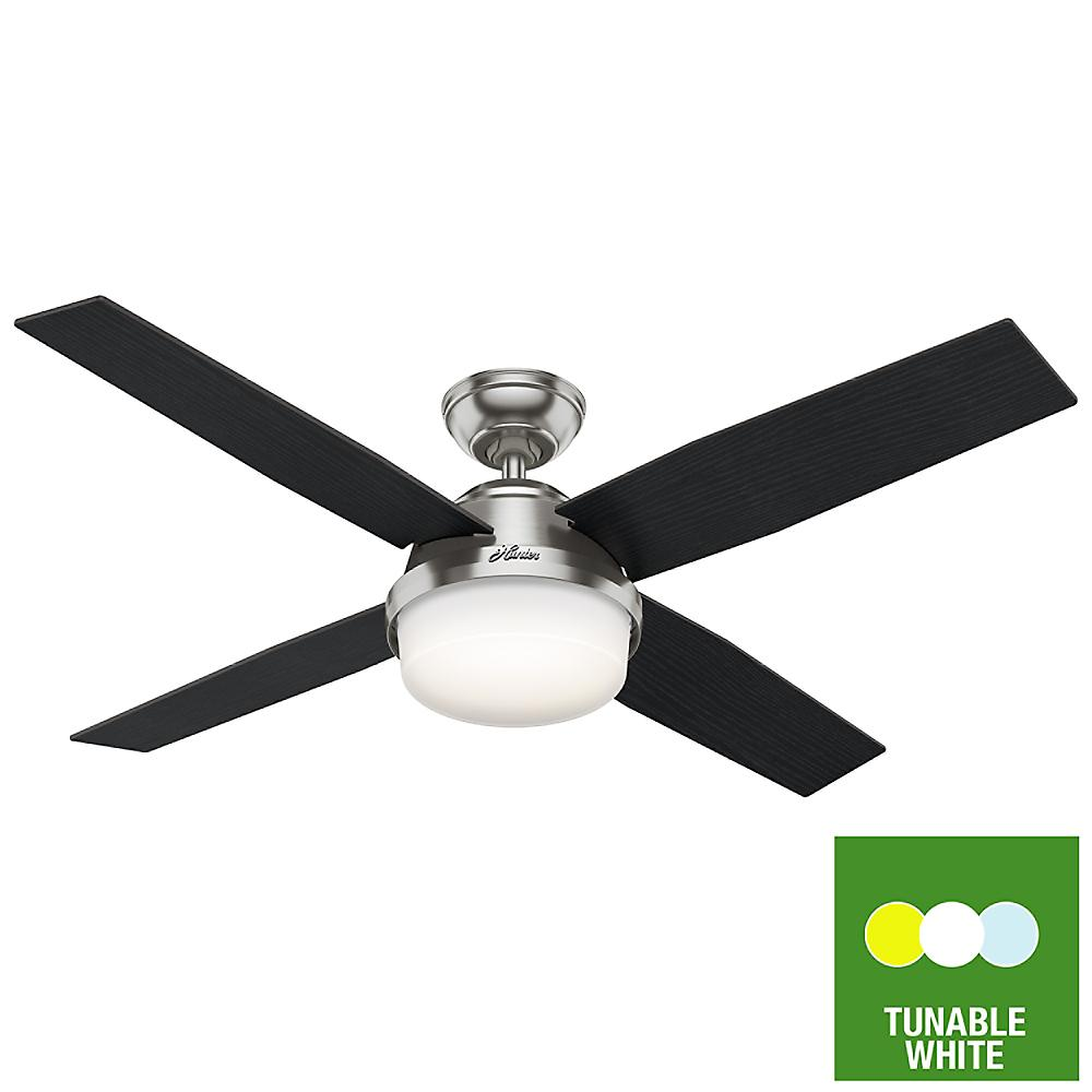 Hunter Dempsey 52 in. Tunable LED Indoor Brushed Nickel Ceiling Fan with Light Kit and Remote Control