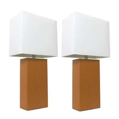 Modern Tan Leather Table Lamps With White Fabric Shades (2 Pack