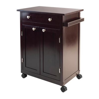 Savannah Espresso Kitchen Cart with Storage
