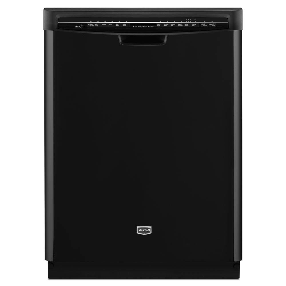 Maytag JetClean Plus Front Control Dishwasher in Black with Stainless Steel Tub and Steam Cleaning-DISCONTINUED
