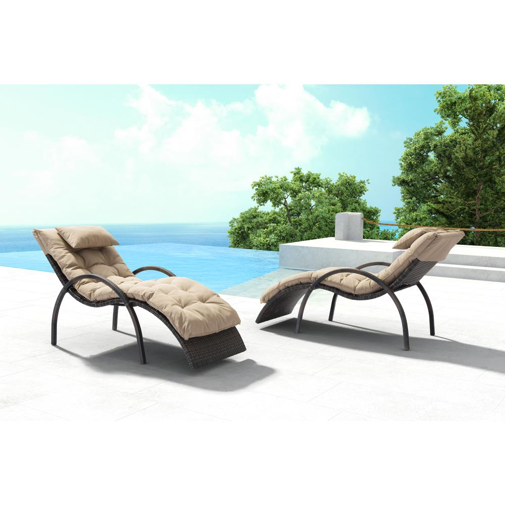 Zuo eggertz beach aluminum outdoor chaise lounge with beige cushion