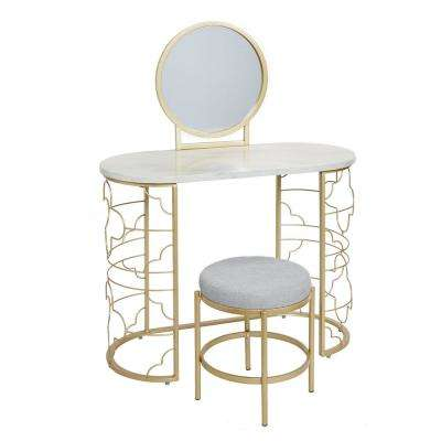 Brigitte 50.5 in. 3-Piece Gold Vanity Set with Mirror