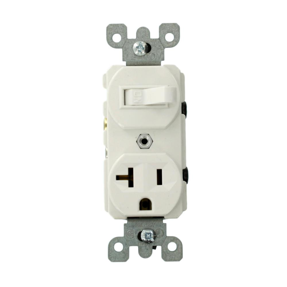 20 Amp Commercial Grade Combination Single Pole Switch and Receptacle, White