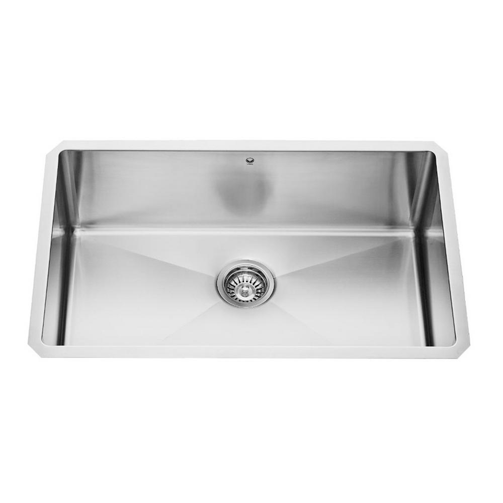 Medium image of vigo undermount stainless steel 30 in  single bowl kitchen sink with grid and strainer vgr3019ck1   the home depot