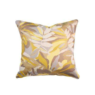 Dewey Yellow Square Accent Throw Pillow