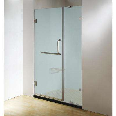 60 in. x 79 in. Frameless Hinged Shower Door Clear Frosted in Chrome with Handle