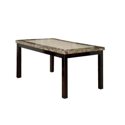 Cream Beautiful Pine Wood and Faux Marble Dining Table