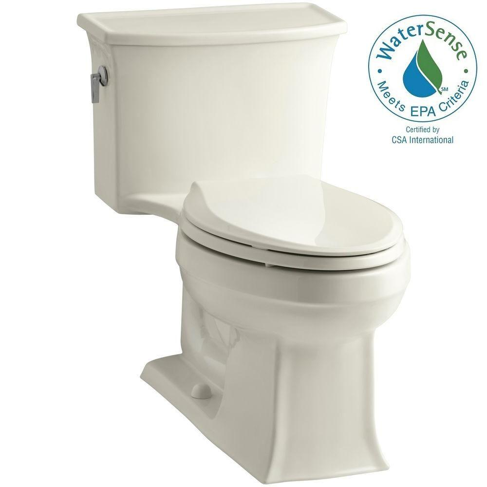KOHLER Archer 1-piece 1.28 GPF Single Flush Elongated Toilet in Biscuit